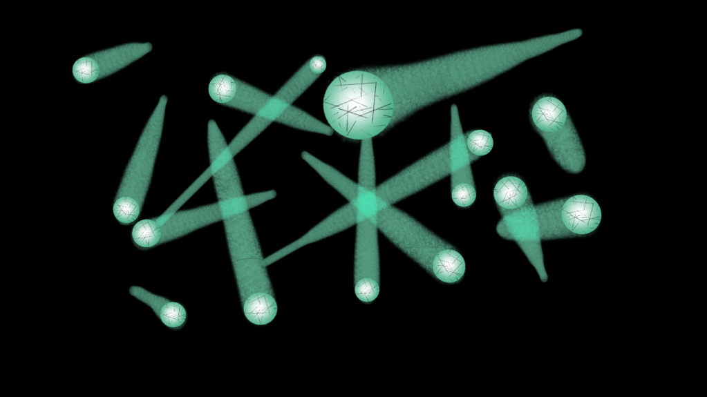 Visualization of individual sprint sphere shooting off in all directions