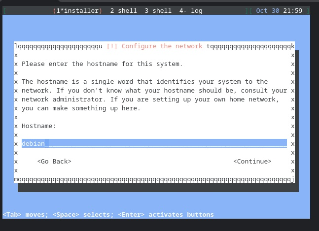 Screen shot of the text-based Debian installer