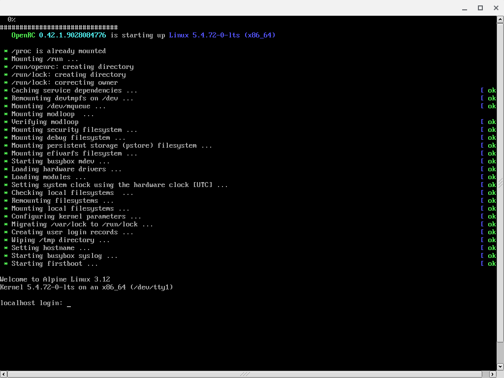 Screenshot of the VNC console of the newly booted alpine installer disk
