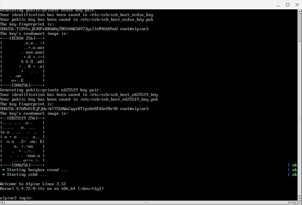 Screenshot of VM console showing a successful boot and cloud-init run