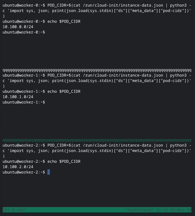 Screen shot of tmux showing the pod cidr value of worker nodes